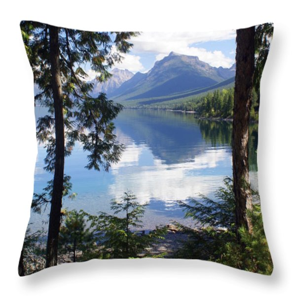 Lake McDlonald Through the Trees Glacier National Park Throw Pillow by Marty Koch