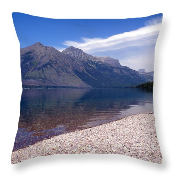 Lake Mcdonald Reflection Glacier National Park 4 Throw Pillow by Marty Koch