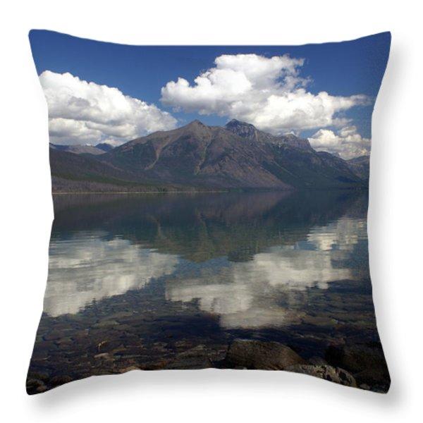 Lake Mcdonald Reflection Glacier National Park Throw Pillow by Marty Koch
