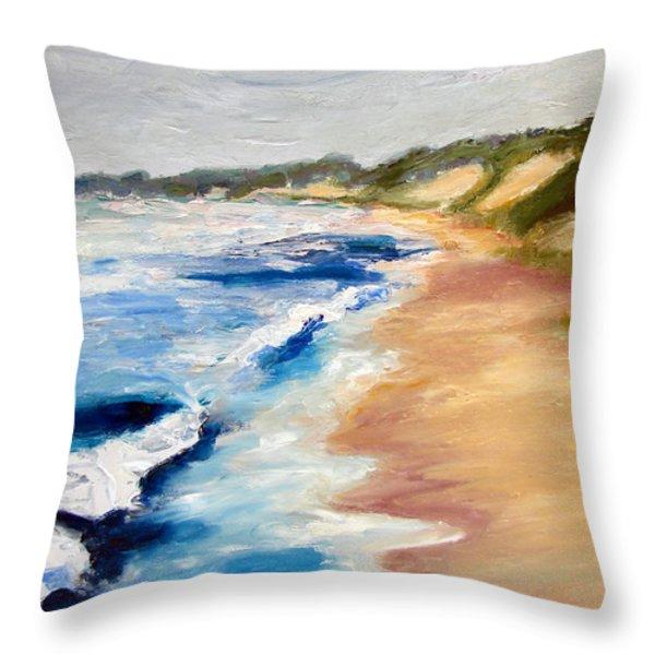Lake Michigan Beach With Whitecaps Detail Throw Pillow by Michelle Calkins