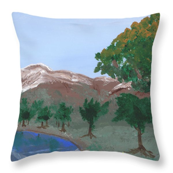 Lake Reflection Throw Pillow by Jose Valeriano