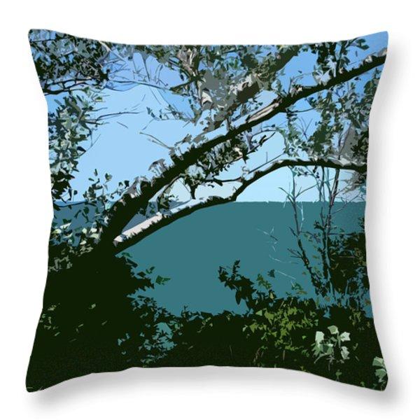 Lake Through the Trees Throw Pillow by Michelle Calkins