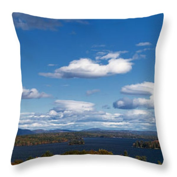 Lake Winnipesaukee New Hampshire in Autumn Throw Pillow by Stephanie McDowell