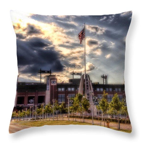 Lambeau Field Awakes Throw Pillow by Joel Witmeyer