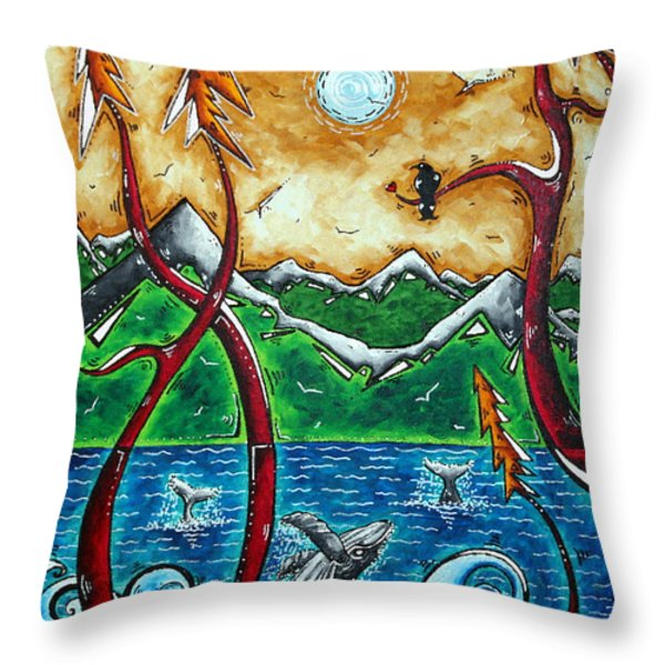 Land Of The Free Original Madart Painting Throw Pillow by Megan Duncanson
