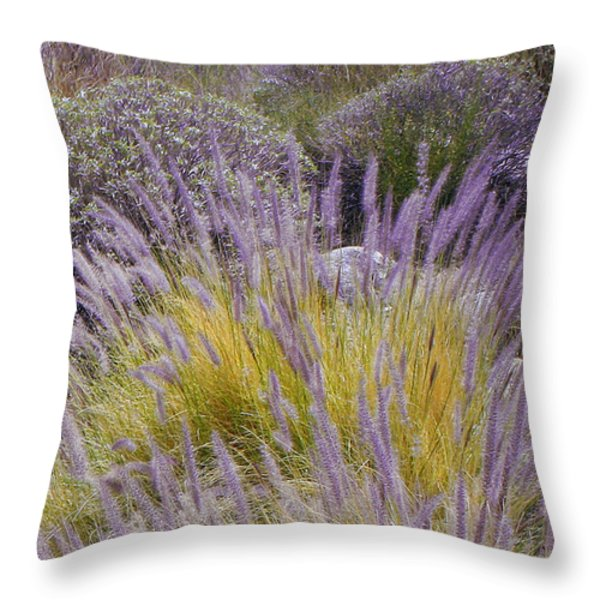 Landscape With Purple Grasses Throw Pillow by Ben and Raisa Gertsberg