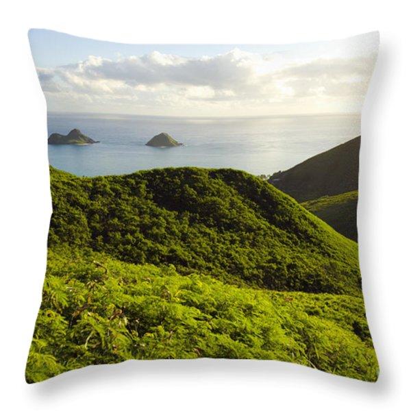 Lanikai Hills Throw Pillow by Dana Edmunds - Printscapes
