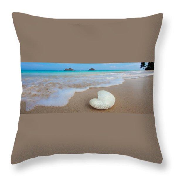 Lanikai Paper Nautilus Throw Pillow by Sean Davey