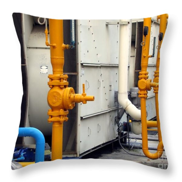 Large Air-Conditioning Cooling Tower Throw Pillow by Yali Shi