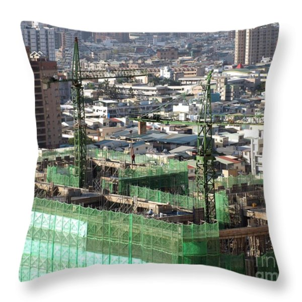 Large Scale Construction Site Throw Pillow by Yali Shi