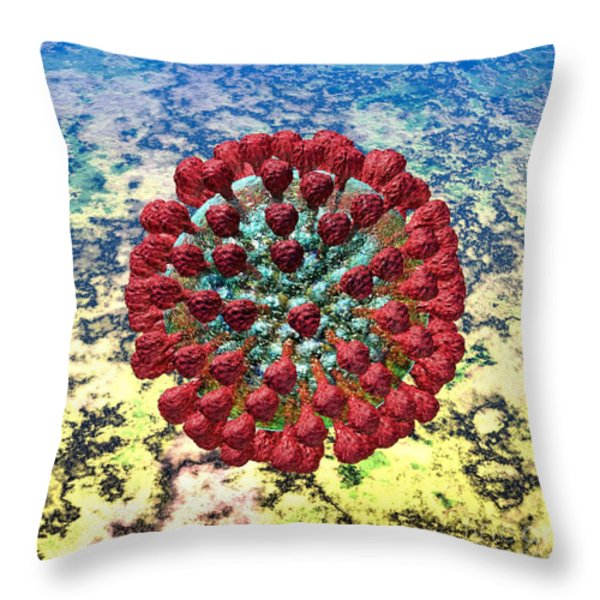 Lassa Virus Throw Pillow by Russell Kightley