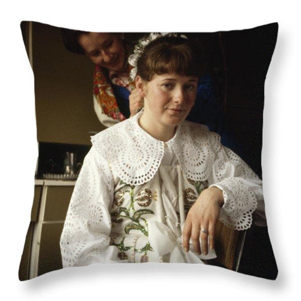 Last Born Of 11 Children, Staszka Throw Pillow by John Eastcott And Yva Momatiuk