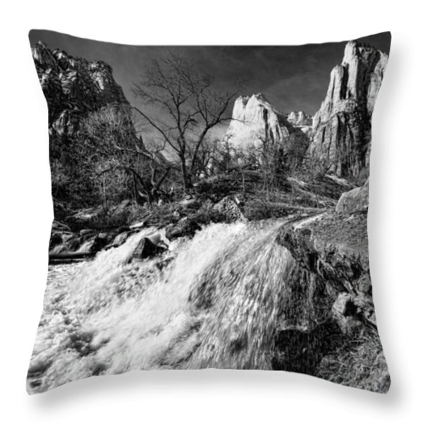 Late Afternoon At The Court Of The Patriarchs - Bw Throw Pillow by Christopher Holmes
