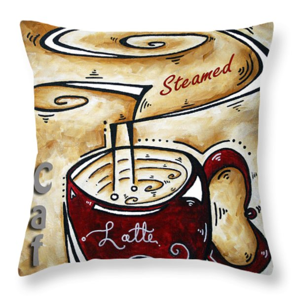 Latte By Madart Throw Pillow by Megan Duncanson