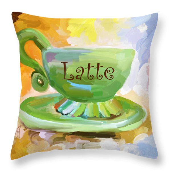 Latte Coffee Cup Throw Pillow by Jai Johnson