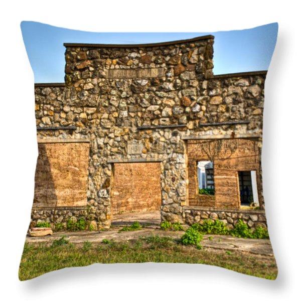 Laura Town Ghost Town in Arkansas  Throw Pillow by Douglas Barnett