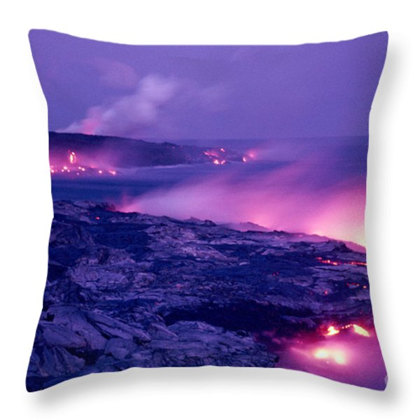 Lava Flows To The Sea Throw Pillow by Mary Van de Ven - Printscapes