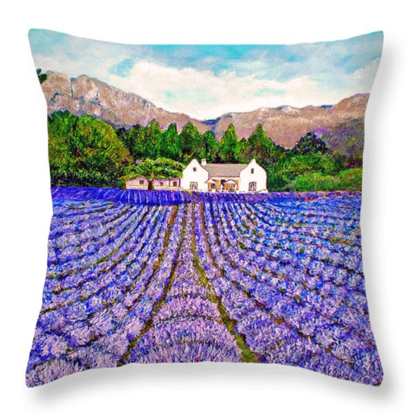 Lavender Fields Throw Pillow by Michael Durst