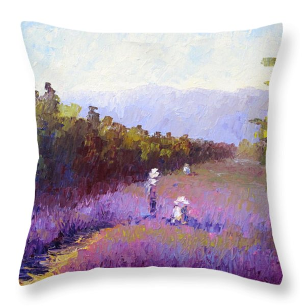 Lavender Fields Throw Pillow by Terry  Chacon