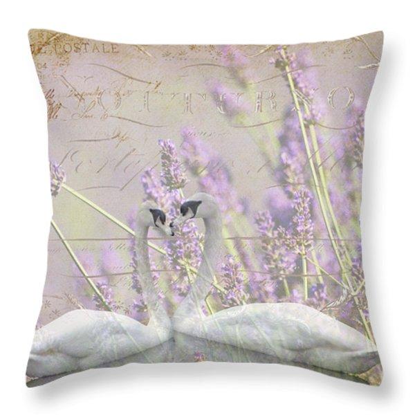 Lavender Swans Zen  Love Throw Pillow by ArtyZen Studios
