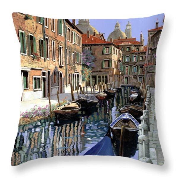 Le Barche Sul Canale Throw Pillow by Guido Borelli