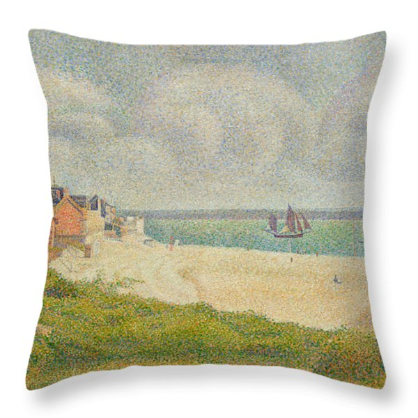 Le Crotoy Looking Upstream Throw Pillow by Georges Pierre Seurat