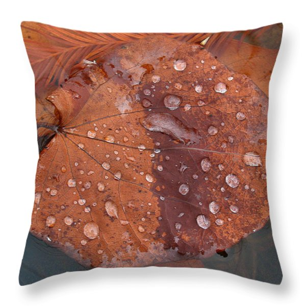 Leaf Blues Throw Pillow by Juergen Roth