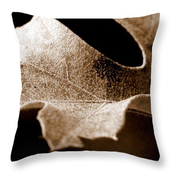 Leaf Study in Sepia Throw Pillow by Lauren Radke