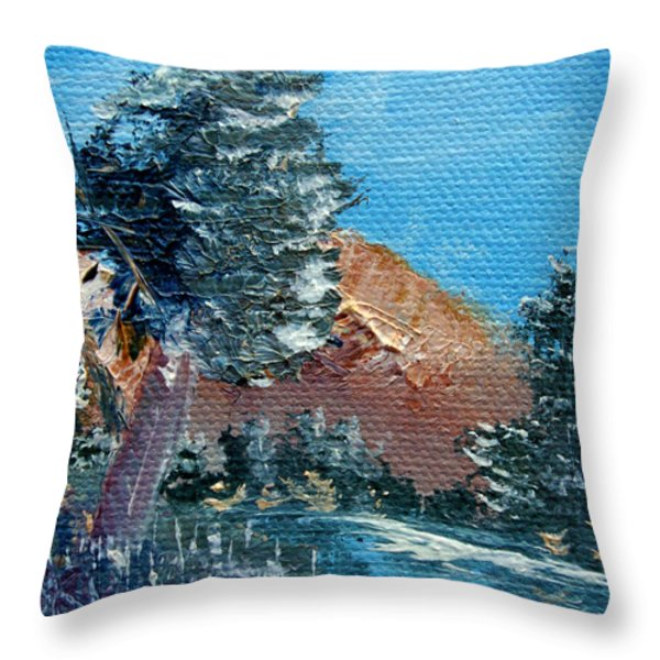 Leaning Pine Tree Landscape Throw Pillow by Jera Sky