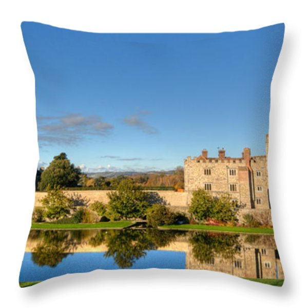 Leeds Castle And Moat Reflections Throw Pillow by Chris Thaxter