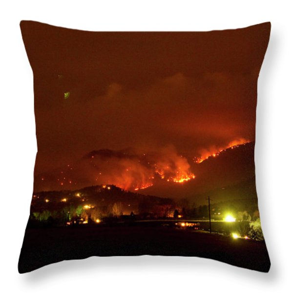 Lefthand Canyon Wildfire Boulder County Colorado 3-11-2011 Throw Pillow by James BO  Insogna