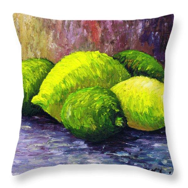 Lemons And Limes Throw Pillow by Kamil Swiatek
