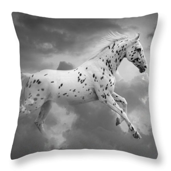 Leopard Appaloosa Cloud Runner Throw Pillow by Renee Forth-Fukumoto