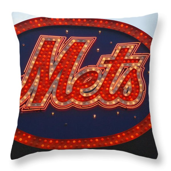 Lets Go Mets Throw Pillow by Richard Bryce and Family