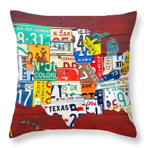 License Plate Map of The United States - Midsize Throw Pillow by Design Turnpike