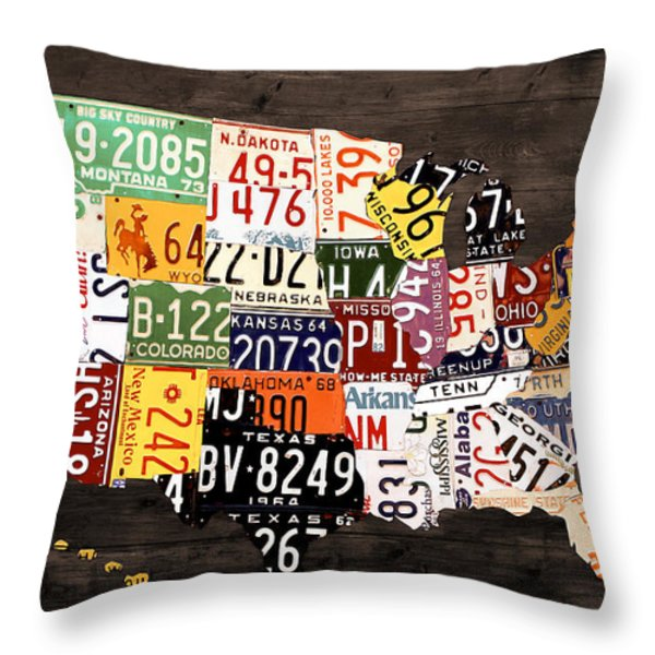 License Plate Map Of The United States - Warm Colors / Black Edition Throw Pillow by Design Turnpike