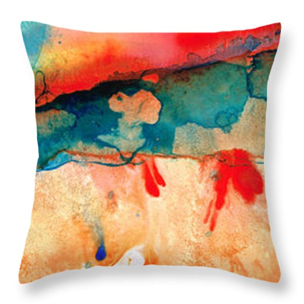 Life Eternal Red And Green Abstract Throw Pillow by Sharon Cummings