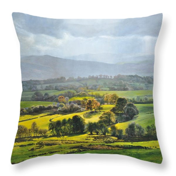 Light in the Valley at Rhug. Throw Pillow by Harry Robertson