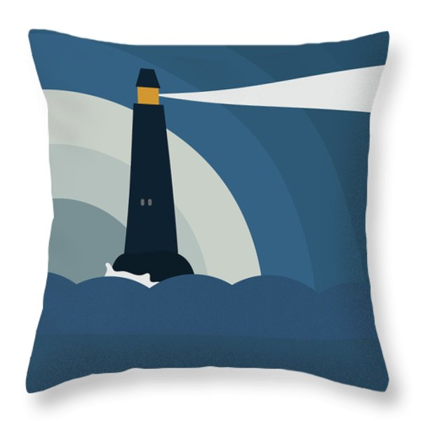 Throw Pillow featuring the painting Lighthouse by Frank Tschakert