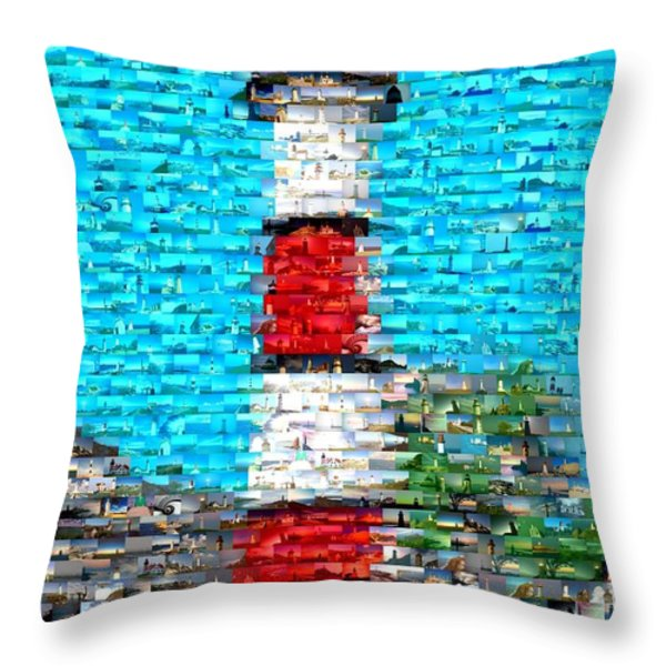 Lighthouse Made Of Lighthouses Mosaic Throw Pillow by Paul Van Scott
