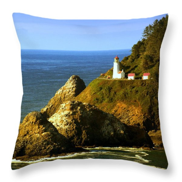Lighthouse On The Oregon Coast Throw Pillow by Marty Koch