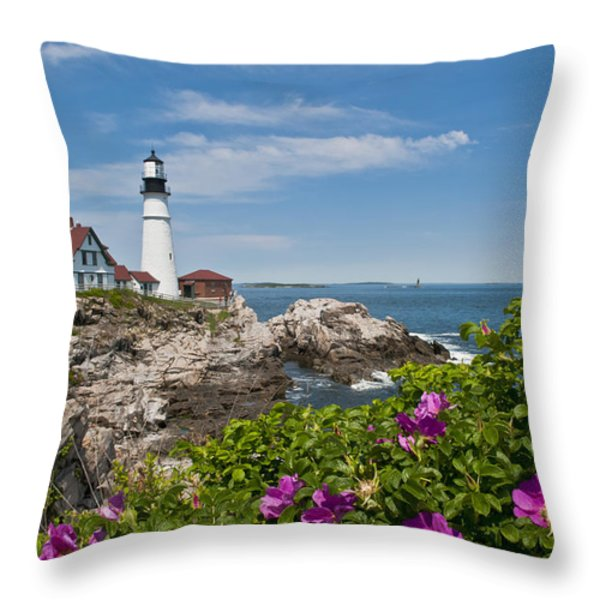 Lighthouse With Rocks On Shore Throw Pillow by Bill Bachmann and Photo Researchers