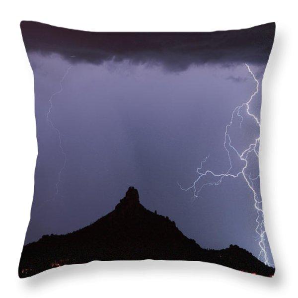 Lightnin at Pinnacle Peak Scottsdale Arizona Throw Pillow by James BO  Insogna