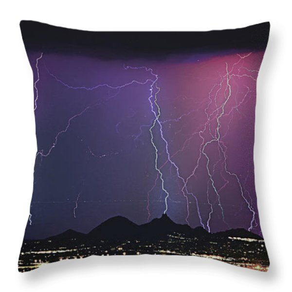 Lightning City Throw Pillow by James BO  Insogna