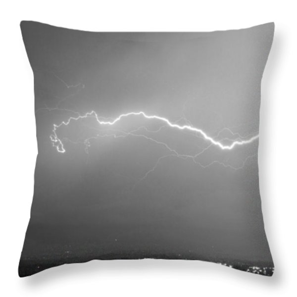 Lightning Over North Boulder Colorado  Ibm Bw Throw Pillow by James BO  Insogna
