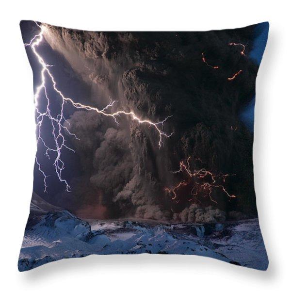 Lightning Pierces The Erupting Throw Pillow by Sigurdur H. Stefnisson