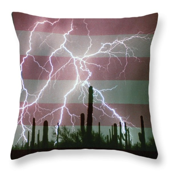 Lightning Storm in the USA Desert Flag Background Throw Pillow by James BO  Insogna