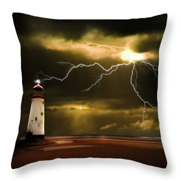 Lightning Storm Throw Pillow by Meirion Matthias