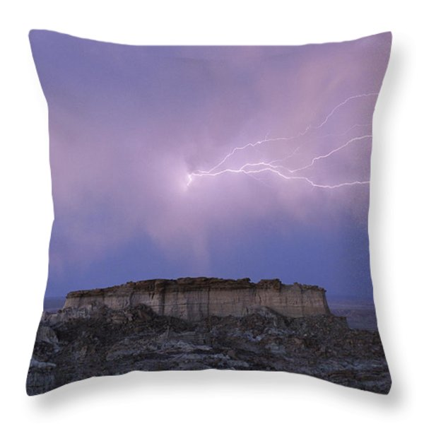 Lightning Strikes Above A Butte Throw Pillow by Joel Sartore