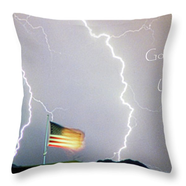 Lightning Strikes God Bless The Usa Throw Pillow by James BO  Insogna